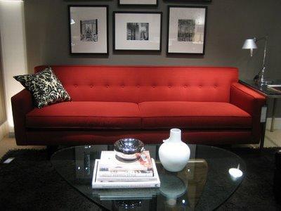 14 sofa vermelho na sala elegante