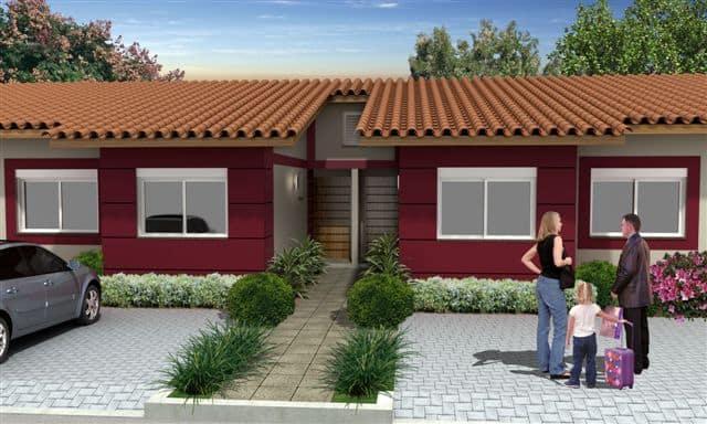 Fachada casa geminada bordo e branca terrea