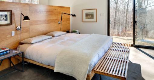 Cabeceira lisa de madeira para quarto de casal