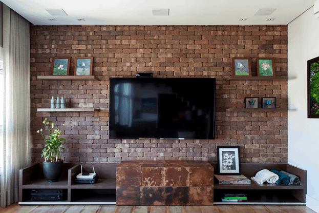 04 painel para tv de tijolo de demolicao
