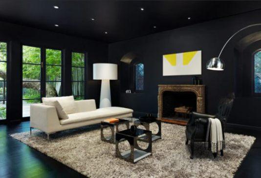 11 sala toda preta com piso e parede moderna