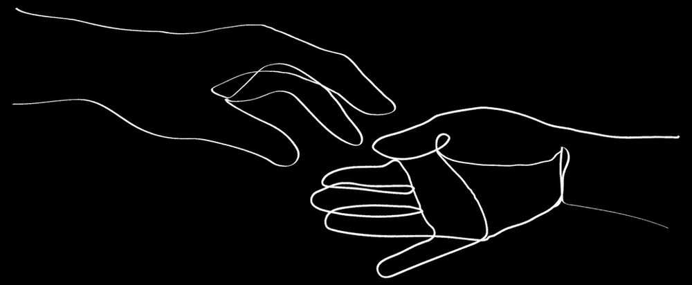 Two hands reaching out towards eachother