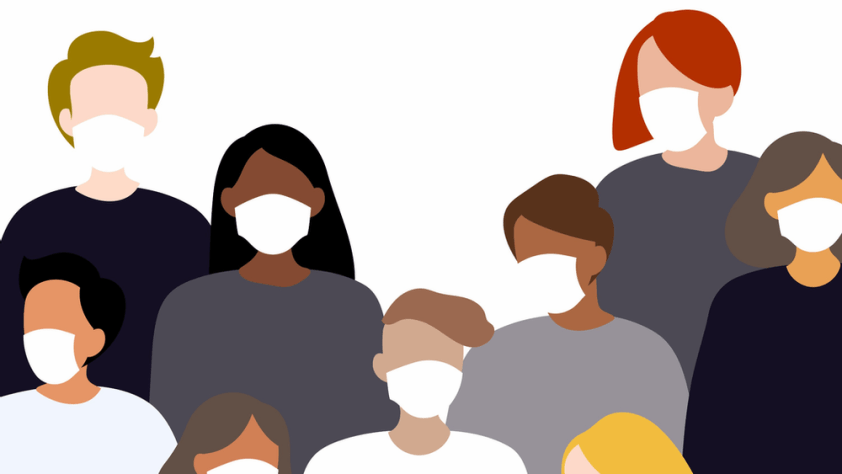A bunch of people wearing masks