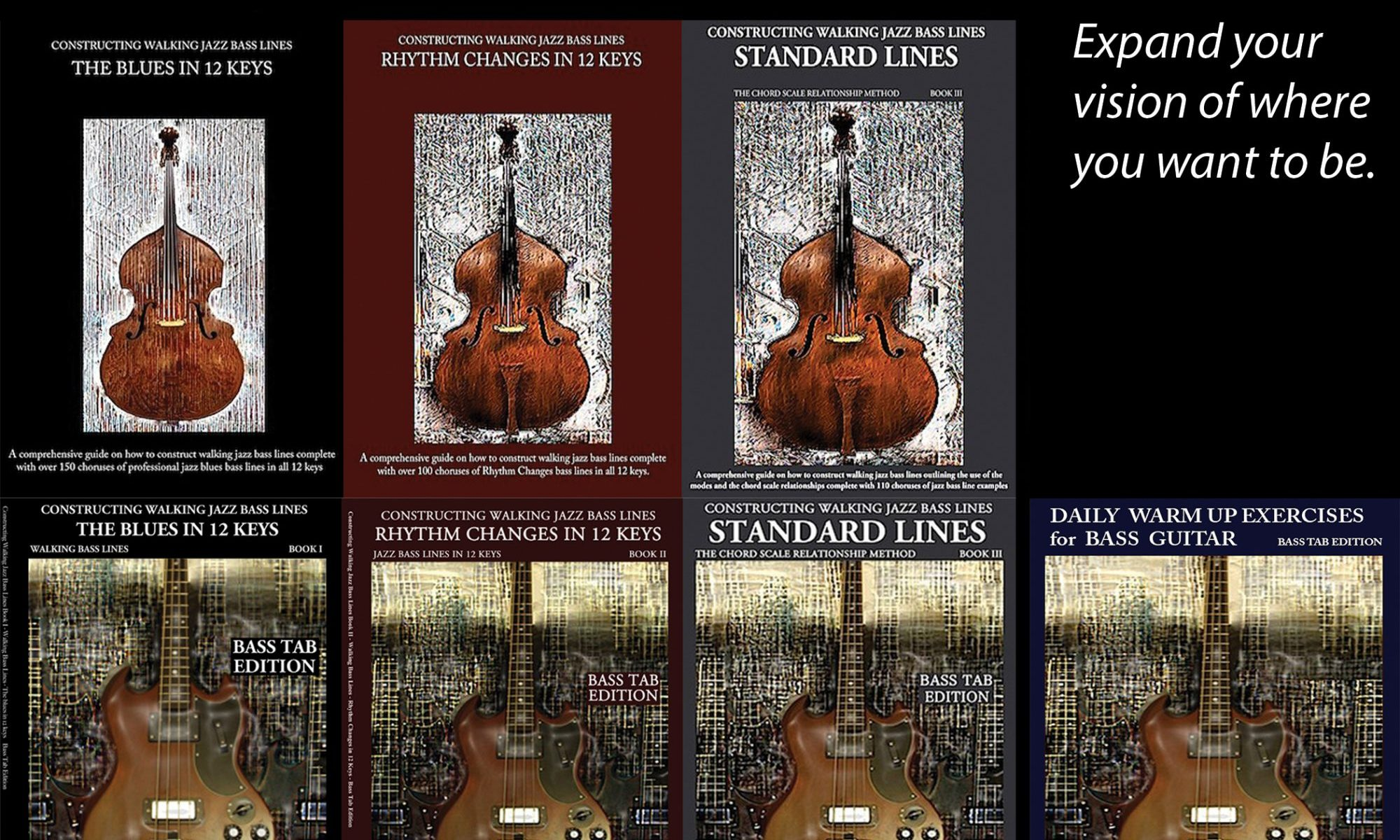 Jazz bass books in 12 keys, walking bass lines in 12 keys