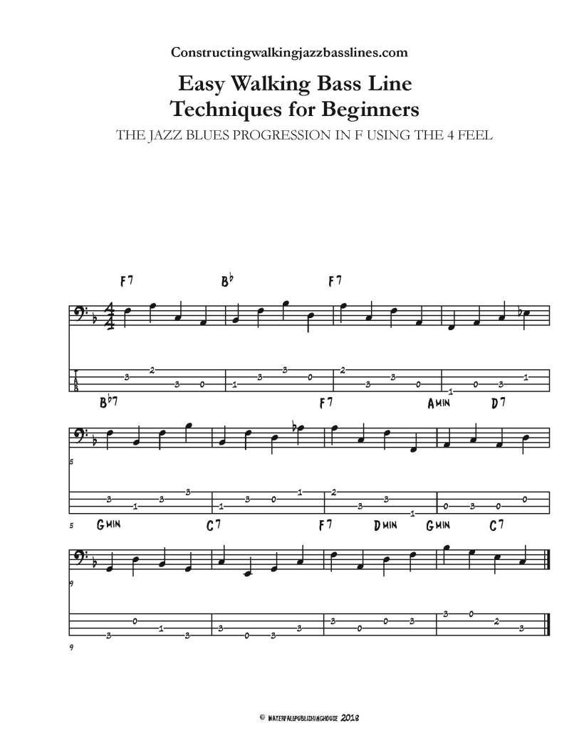 Easy walking bass lines jazz blues in F 4 Feel bass tab