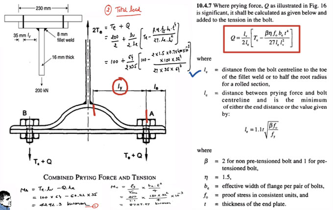 How to measure prying force in bolted connection