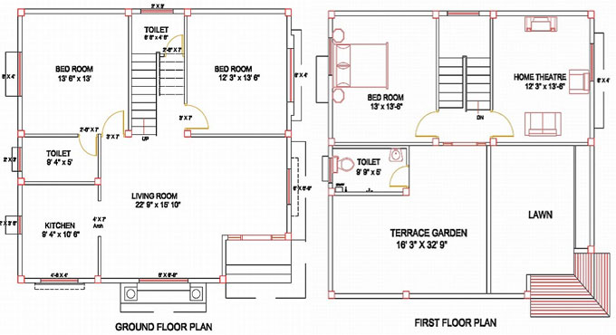 How to layout columns for a residence on the basis of thumb rules