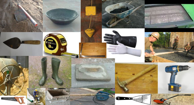 Detail lists of useful construction tools