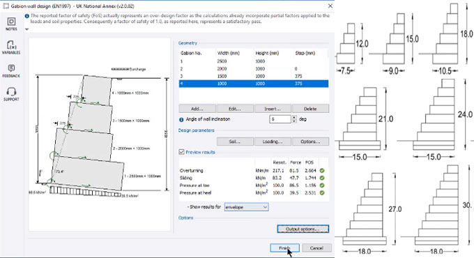 How to design a gabion retaining wall with Tekla Tedds