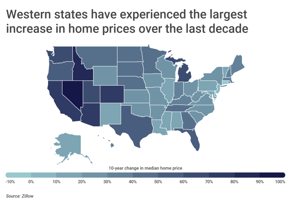 Chart2 Largest rise in home price by state