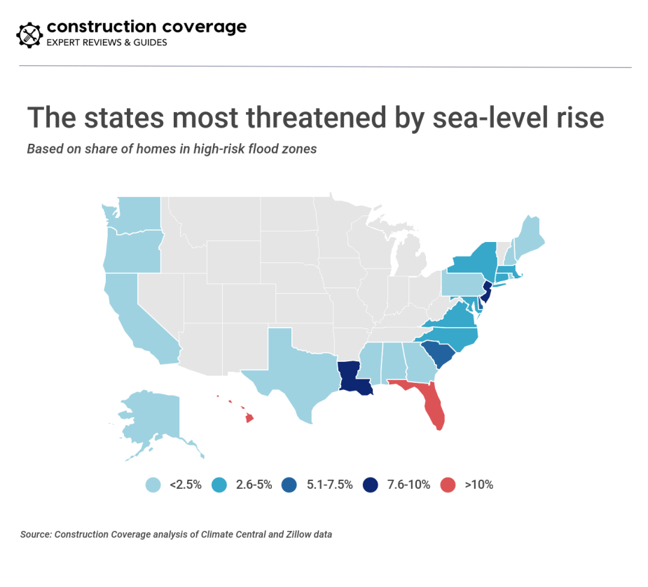 The states most threatened by sea-level rise
