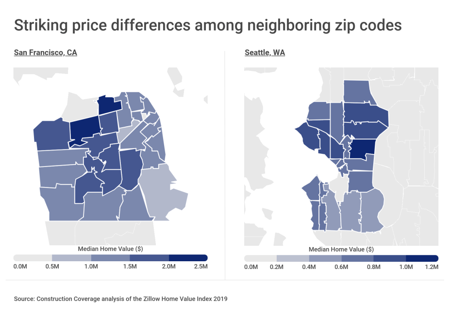 Striking price differences among neighboring zip codes