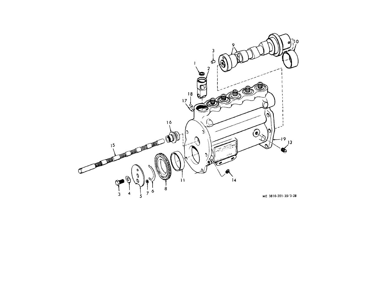 Figure 3 28 Fuel Injection Pump Lifter Camshaft Fuel Rack And Housing Exploded View