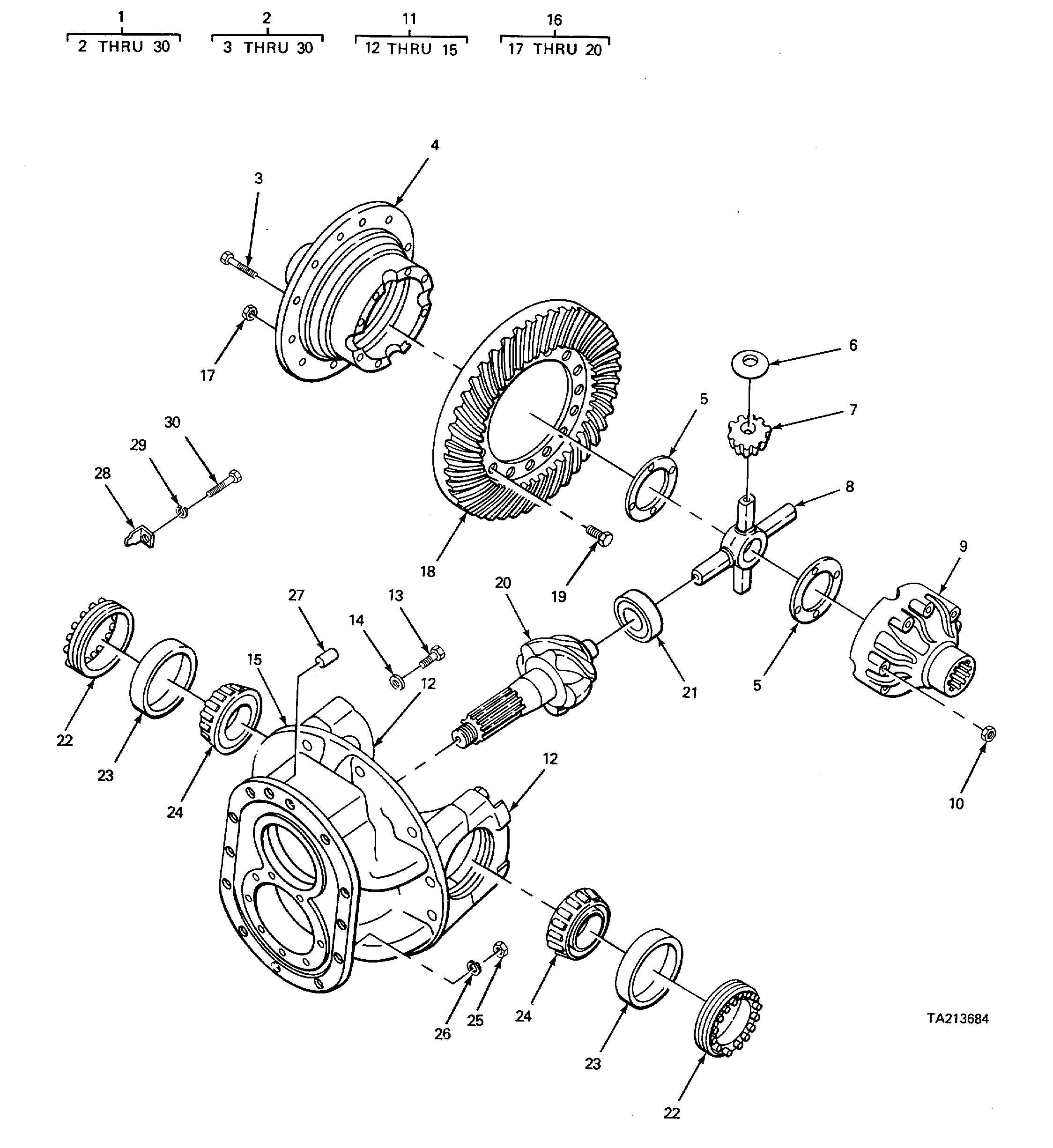 Figure 213 Differential And Carrier Components Parts Rear Axle Model
