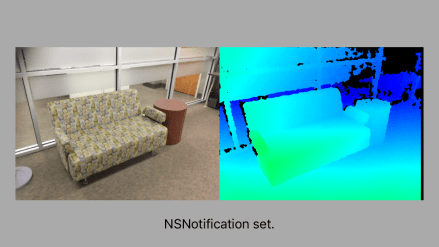 Camera image of Sofa on left, Structure Sensor Depth image on right.