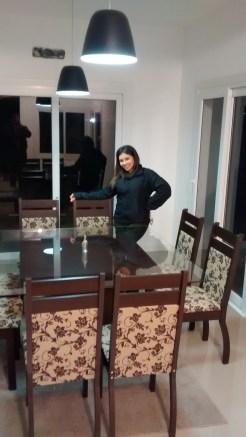 conjunto sala de jantar 8 cadeiras e mesa com tampo de vidro (2)