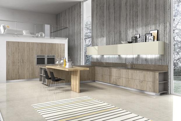 Diseño De Cocinas Elegantes Combina Líneas Simples En