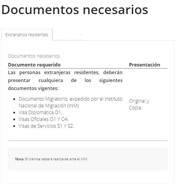 Documentos sacar CURP extranjeros