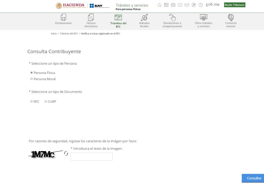 Verificacion registro en RFC paso 3 OPCIONES