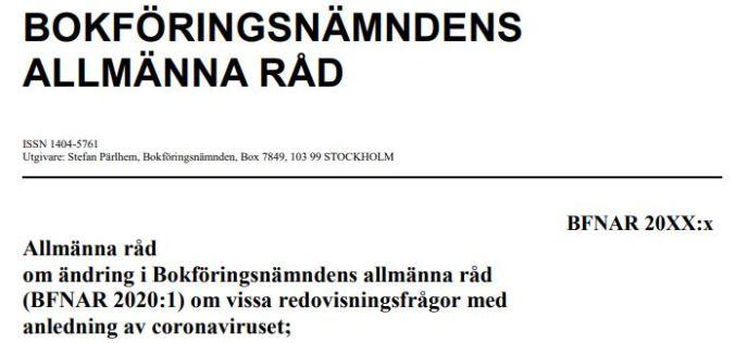 Remiss från BFN av regler om periodiseringar av coronastöd