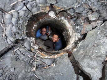 Exploring a lava hole.