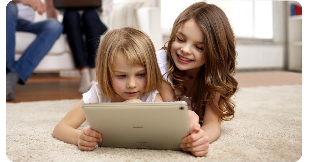 Huawei mediapad m5 lite girls watching happily