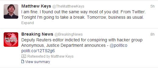 Matthew Keys tweets
