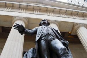 The statue of George Washington at the Federal Hall in the financial district of downtown Manhattan, New York