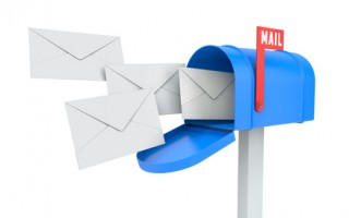 Incoming mail. blue mailbox with letters isolated on white with clipping path