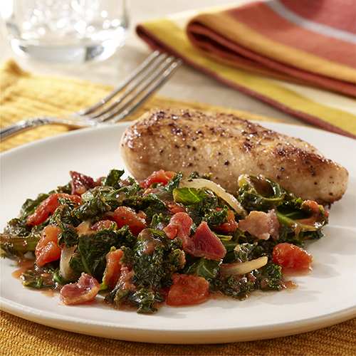 Wilted Kale with Bacon and Tomatoes Recipe