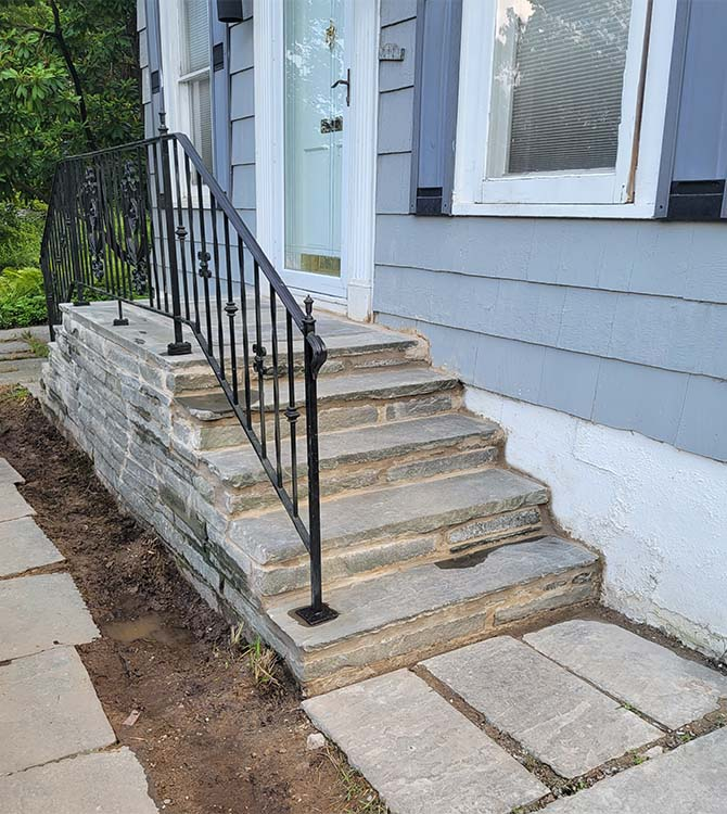 After photo of a stone porch