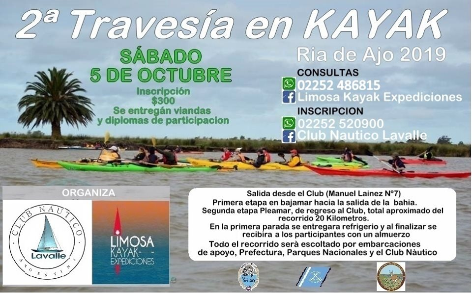 SE VIENE LA 2DA. EDICION Kayak Travesía-Octubre 5 – GRAL.LAVALLE – RIA AJO.-