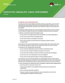 Executive Linux Containers Checklist