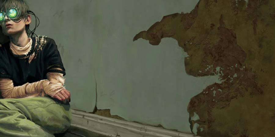 A imagem é uma ilustração de um jovem que se encontra sentado encostado em uma parede descascada. O jovem usa roupas levemente rasgadas e óculos grandes e redondos, de onde saem alguns cabos que poderiam estar conectados a algum aparelho.