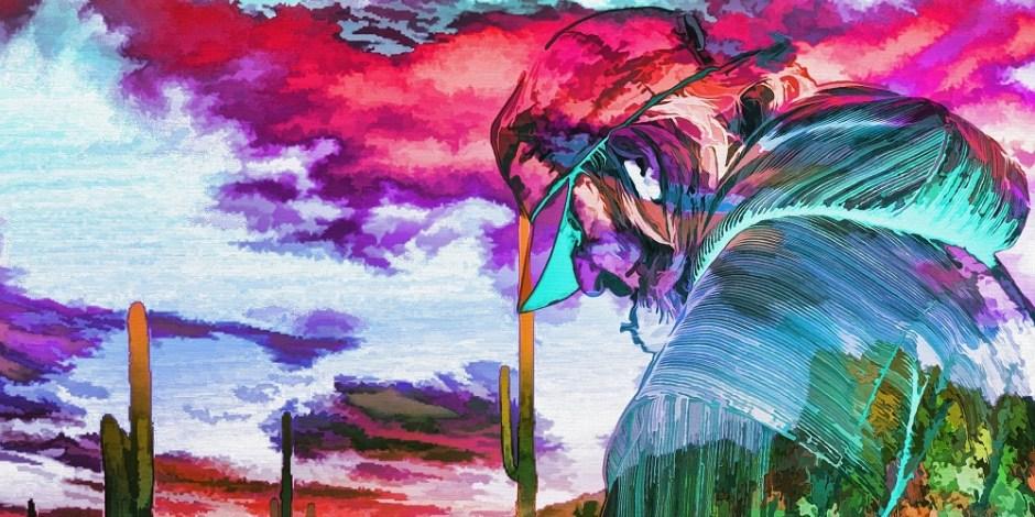 Imagem com pintura surreal cheia de cores. A figura de um homem de barba, boné e cabisbaixo caminha em direção ao horizonte..