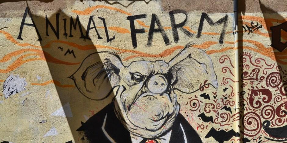 """Um mural, com o título do livro, """"Animal Farm"""", e o retrato de um porco, vestido um terno."""
