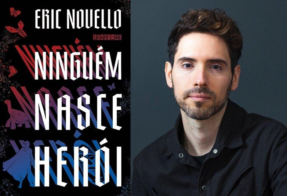Autor Eric Novello e a capa do livro Ninguém Nasce Herói