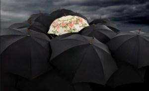 vários guarda chuvas pretos e um guarda chuva florido no meio
