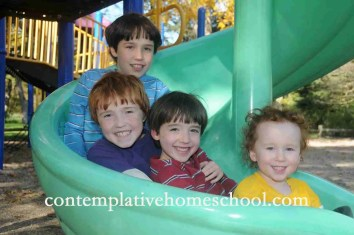 D, M, C, and J slide together at the park.