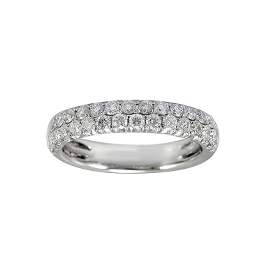 LADY'S 14KT WHITE GOLD WEDDING BAND WITH ROUND DIAMONDS-YKR00475-007