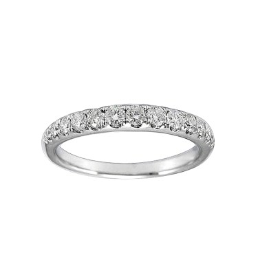 LADY'S 14KT WHITE GOLD WEDDING BAND WITH ROUND DIAMONDS-YKR00563-005