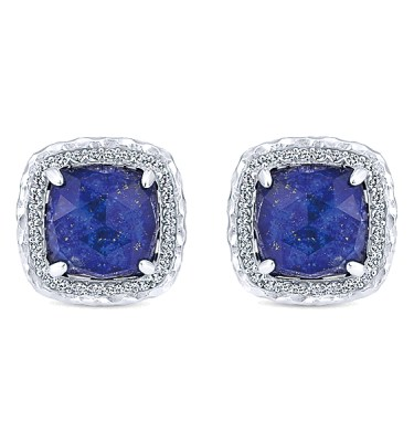 STERLING SILVER EARRINGS WITH .83 CTS SAPPHIRES AND 12.66 CTS ROCK CRYSTAL AND LAPIS-EG12988SVJMC