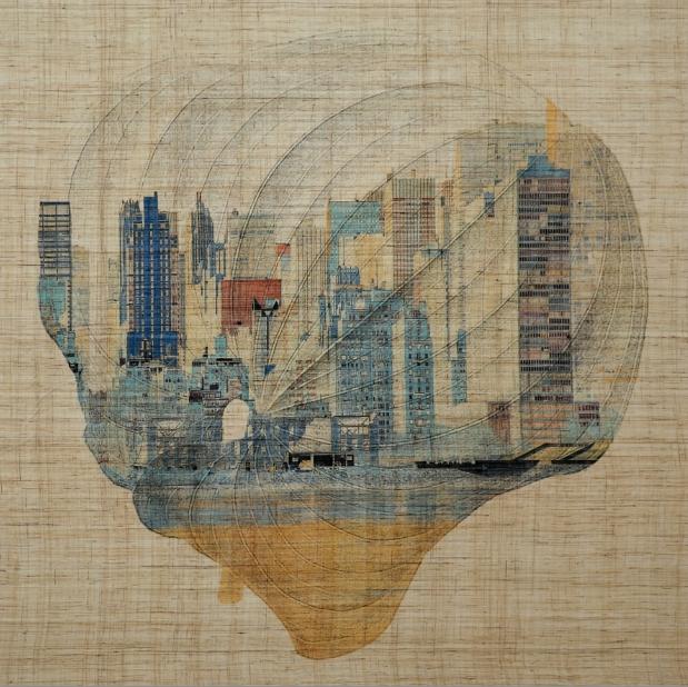 Fu Wenjun, Autumn in a Leaf  No.9, 2014, grass cloth, 83cmx83cm