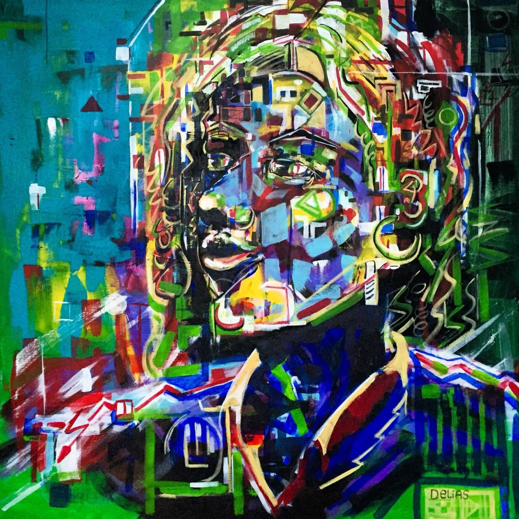 "Chris Delias. Diana. Acrylic on Canvas.40"" x 40"""