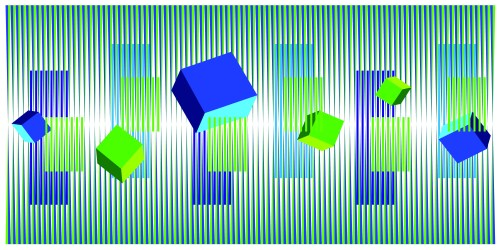 004.Hugo Diaz.Blue and Green Cubes Dance Kinetic #5623. 36 x 72 inches