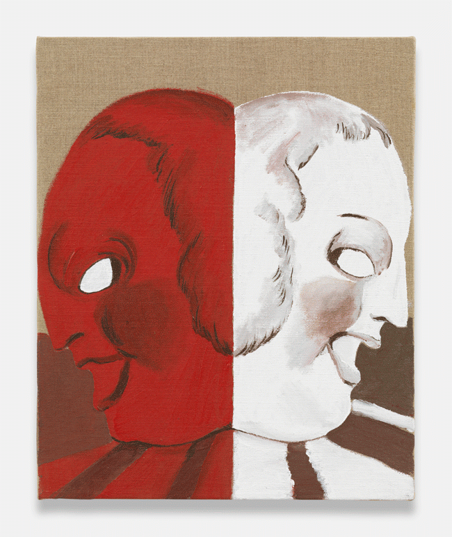 Allison Katz, Janus (2011). Acrylic on linen, 17 x 13 3/4 inches. Image courtesy of the artist and Tanya Leighton, Berlin.