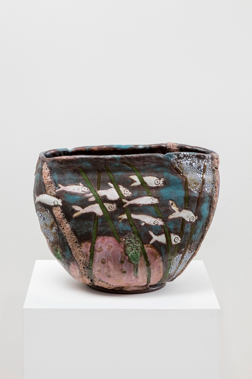 Karin Gulbran, Sardines and Anchovies (2015). Stoneware, 15 x 20 x 12 inches. Image courtesy of the artist and China Art Objects Galleries. Photo by Joshua White.