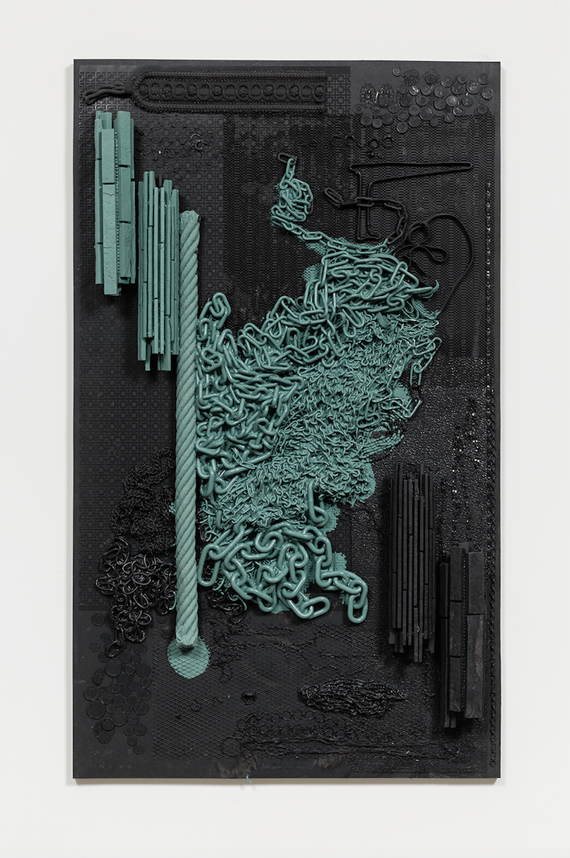 ISABELLE CORNARO Orgon Doors I (black and green) (2016). Tinted Elastomer and MDF. 51.97 x 31.1 x 4.72 inches. Image courtesy of the artist and Hannah Hoffman Gallery