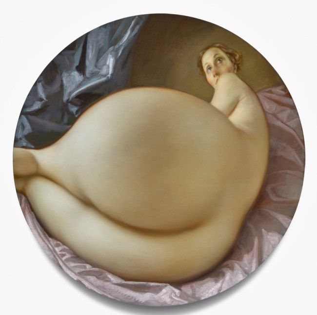 Nude in a Convex Mirror (2015). Oil on canvas, 42 inches diameter. Image couresty of the artist. Photo: Douglas M. Parker studio.