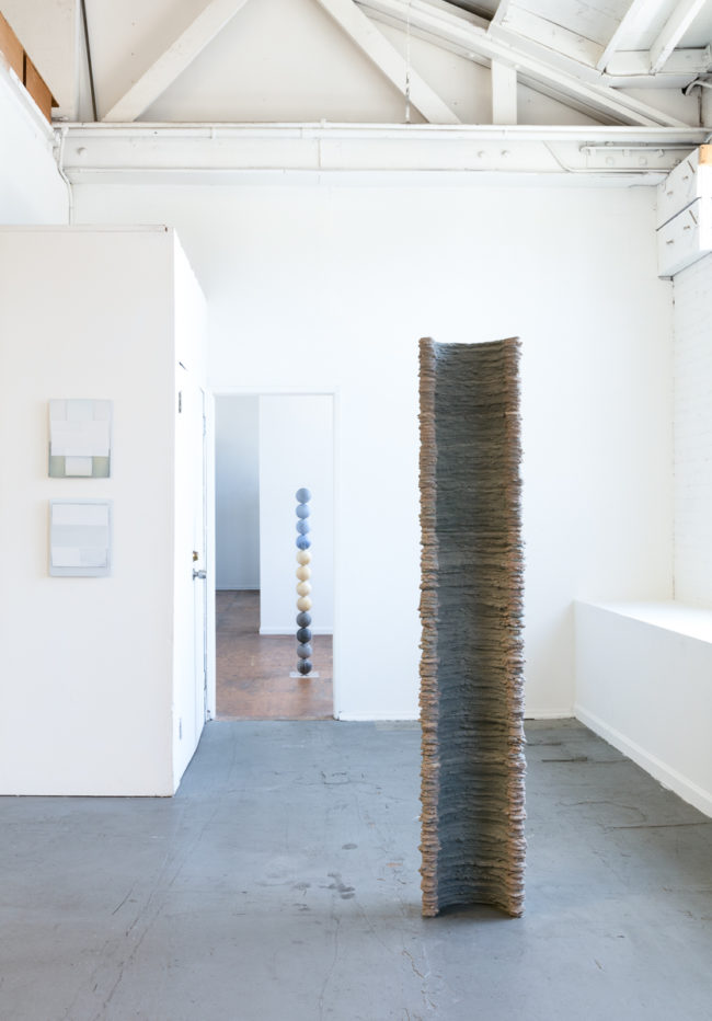 Jeffery Cortland Jones, Murk (To Step Aside) (2016) and Some speculation (2016); Wyatt Miles, The Circle Is Not Round (2016); Dwyer Killcolin, Capital (column I) (2016). Image courtesy of the artists and Skibum MacCarthur. Photo: Brica Wilcox.